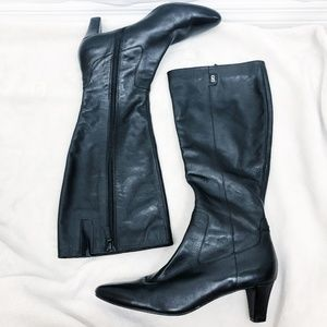 Cole Haan | Black Leather 3 Inch Heel Boots